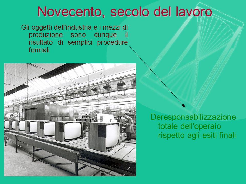 Novecento, secolo del lavoro Gli oggetti dell'industria e i mezzi di produzione sono dunque il risultato di semplici procedure formali Deresponsabiliz