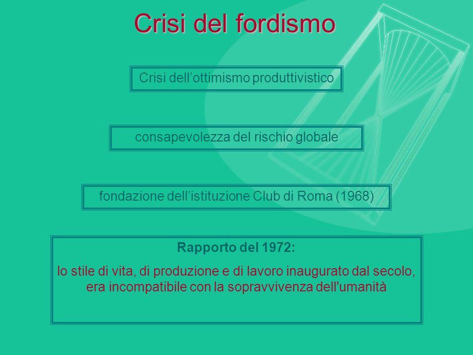 Crisi del fordismo Crisi dellottimismo produttivistico consapevolezza del rischio globale fondazione dellistituzione Club di Roma (1968) Rapporto del