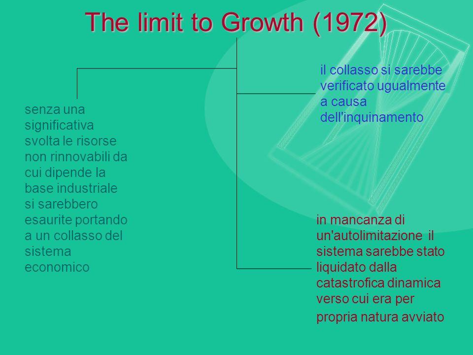 The limit to Growth (1972) senza una significativa svolta le risorse non rinnovabili da cui dipende la base industriale si sarebbero esaurite portando