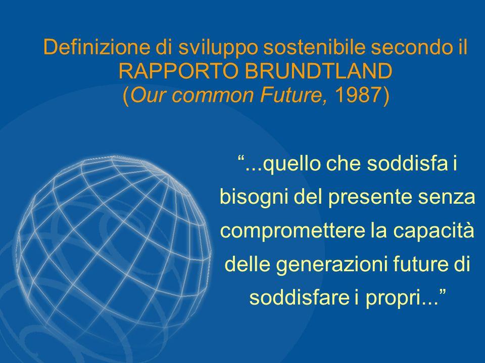 Definizione di sviluppo sostenibile secondo il RAPPORTO BRUNDTLAND (Our common Future, 1987)...quello che soddisfa i bisogni del presente senza compro
