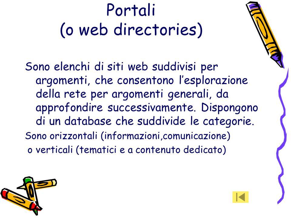 Metamotori Sono pagine web da cui si possono effettuare ricerche contemporaneamente su più motori di ricerca (es. MetaCrawler consente di effettuare r