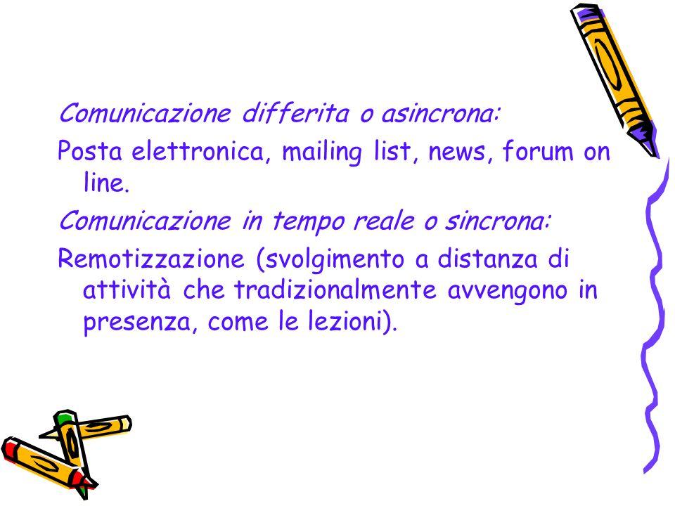 Didattica in rete Comunicazione a distanza Nella didattica in rete la comunicazione è staccata dalle modalità di tempo e di luogo: lo studente può sce