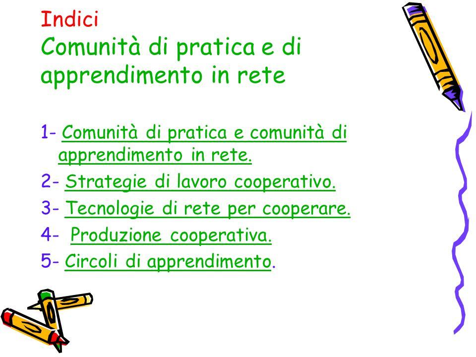 Indici Comunità di pratica e di apprendimento in rete 1- Comunità di pratica e comunità di apprendimento in rete.Comunità di pratica e comunità di apprendimento in rete.