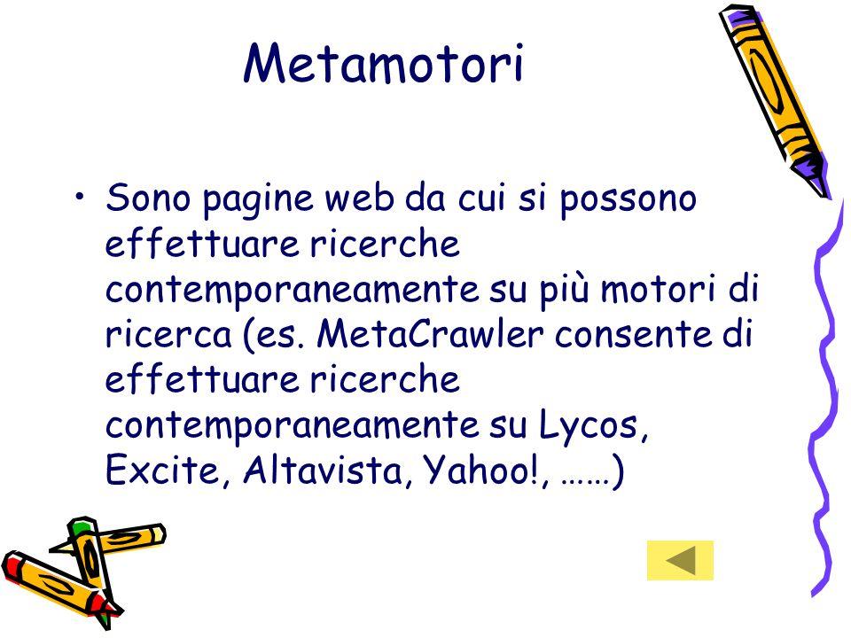 Metamotori Sono pagine web da cui si possono effettuare ricerche contemporaneamente su più motori di ricerca (es.