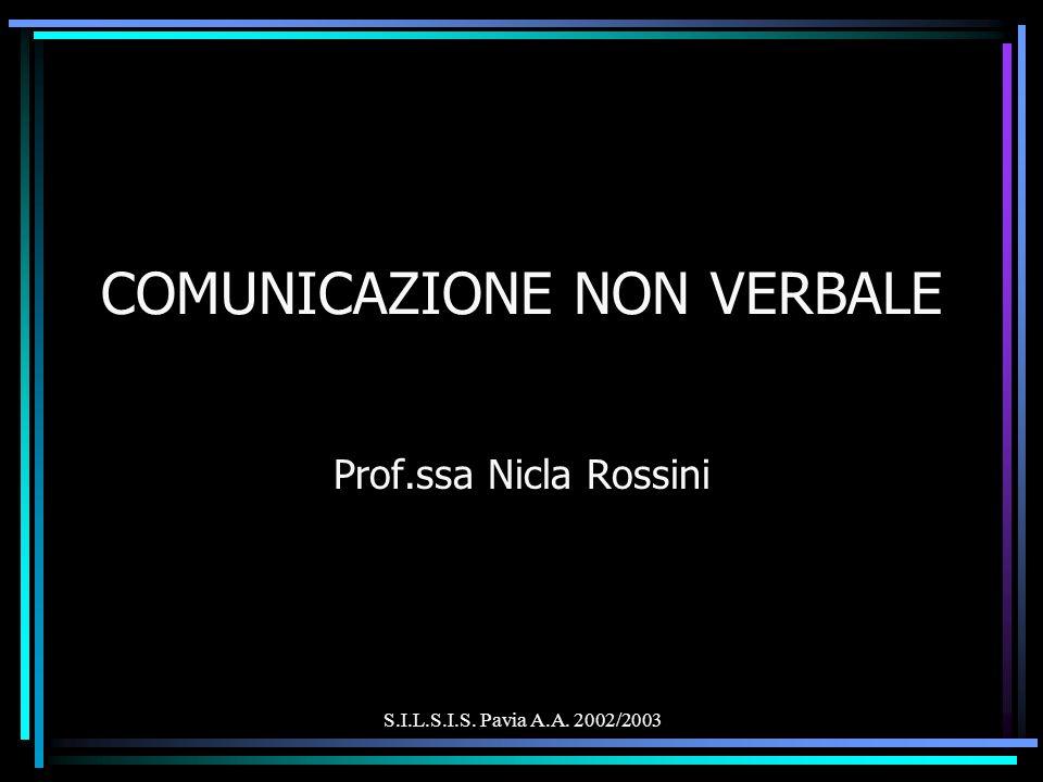 S.I.L.S.I.S. Pavia A.A. 2002/2003 COMUNICAZIONE NON VERBALE Prof.ssa Nicla Rossini