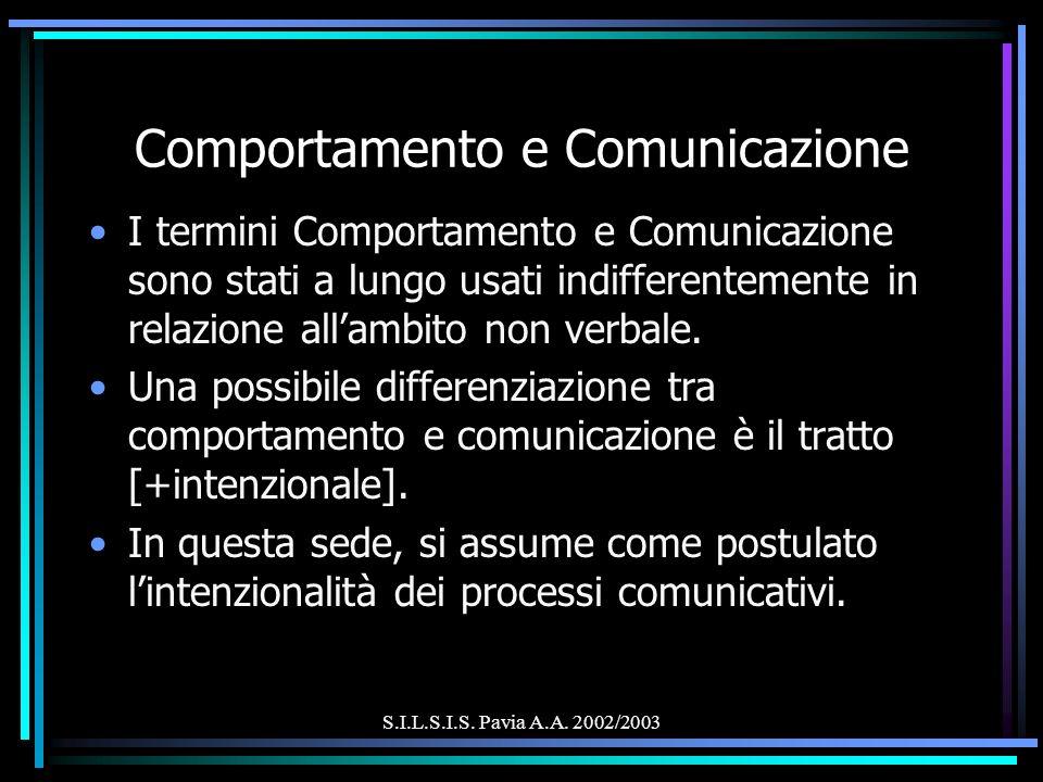 S.I.L.S.I.S. Pavia A.A. 2002/2003 Comportamento e Comunicazione I termini Comportamento e Comunicazione sono stati a lungo usati indifferentemente in