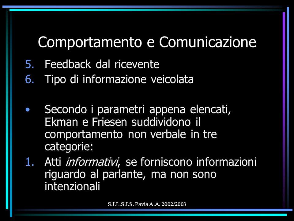 S.I.L.S.I.S. Pavia A.A. 2002/2003 Comportamento e Comunicazione 5.Feedback dal ricevente 6.Tipo di informazione veicolata Secondo i parametri appena e