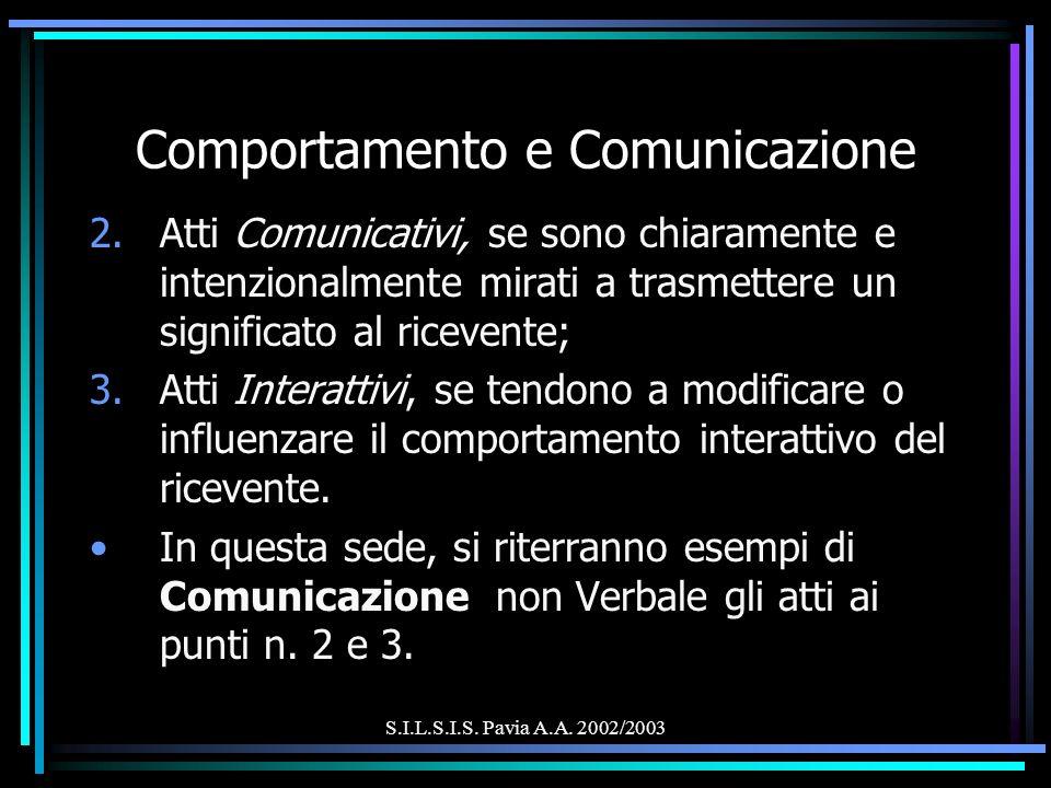 S.I.L.S.I.S. Pavia A.A. 2002/2003 Comportamento e Comunicazione 2.Atti Comunicativi, se sono chiaramente e intenzionalmente mirati a trasmettere un si