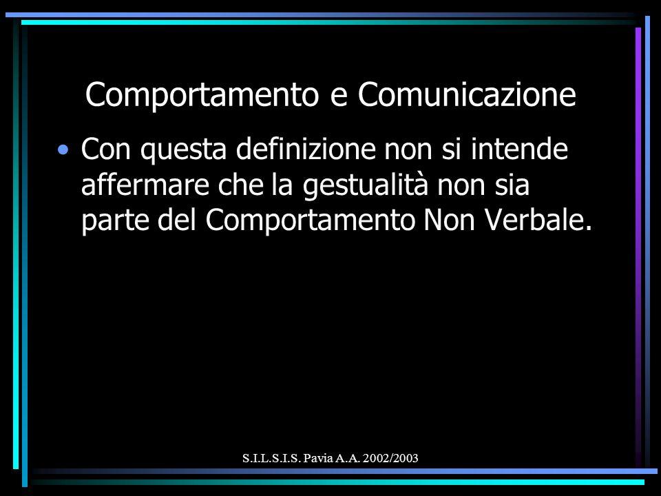 S.I.L.S.I.S. Pavia A.A. 2002/2003 Comportamento e Comunicazione Con questa definizione non si intende affermare che la gestualità non sia parte del Co