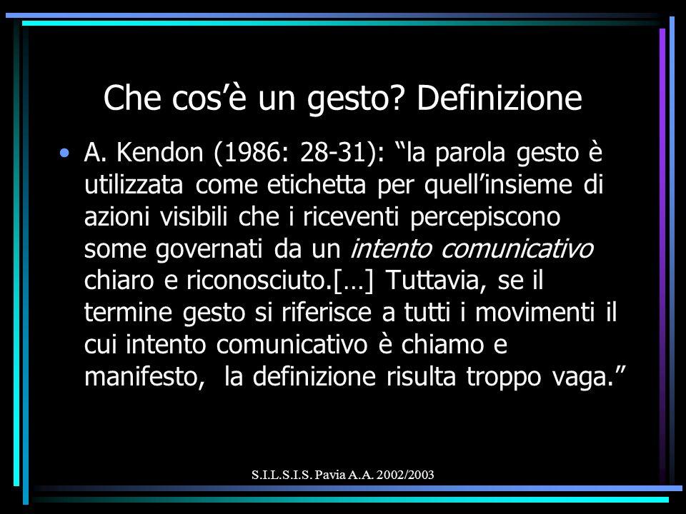 S.I.L.S.I.S. Pavia A.A. 2002/2003 Che cosè un gesto? Definizione A. Kendon (1986: 28-31): la parola gesto è utilizzata come etichetta per quellinsieme