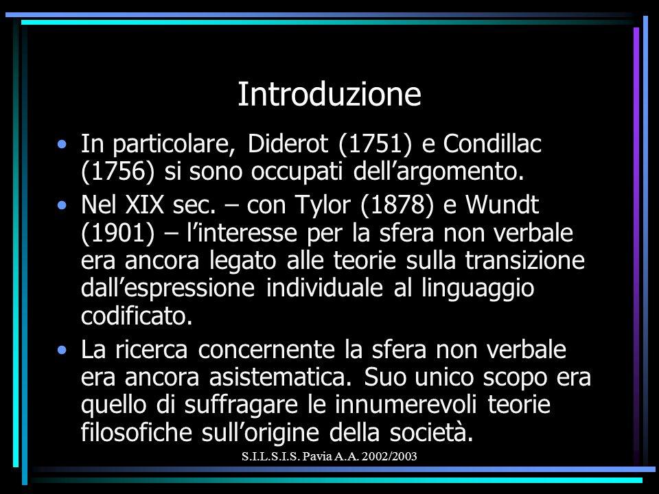 S.I.L.S.I.S. Pavia A.A. 2002/2003 Introduzione In particolare, Diderot (1751) e Condillac (1756) si sono occupati dellargomento. Nel XIX sec. – con Ty