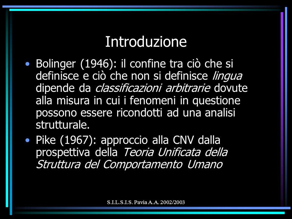 S.I.L.S.I.S. Pavia A.A. 2002/2003 Introduzione Bolinger (1946): il confine tra ciò che si definisce e ciò che non si definisce lingua dipende da class