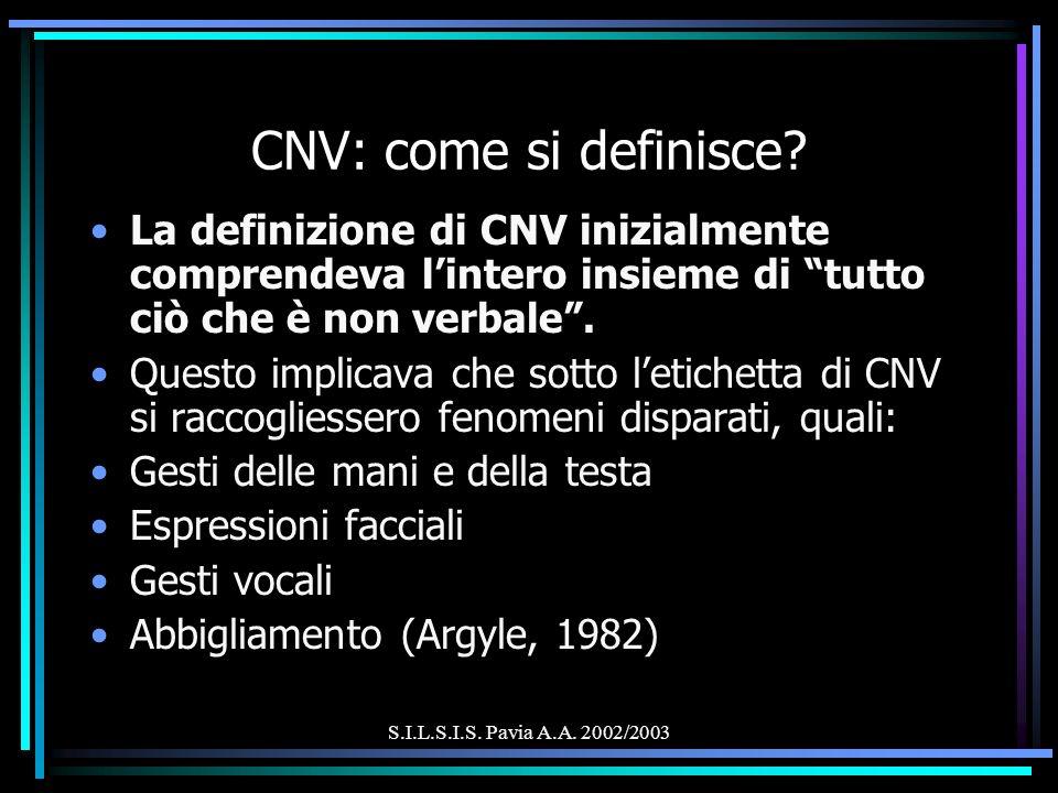 S.I.L.S.I.S. Pavia A.A. 2002/2003 CNV: come si definisce? La definizione di CNV inizialmente comprendeva lintero insieme di tutto ciò che è non verbal