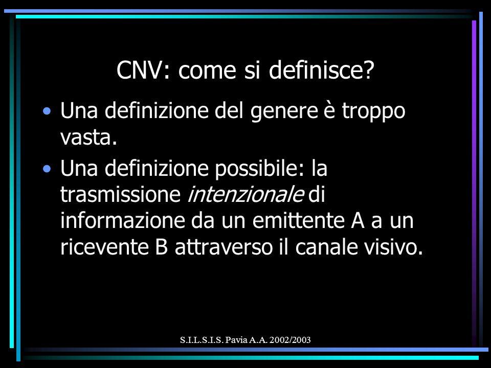 S.I.L.S.I.S. Pavia A.A. 2002/2003 CNV: come si definisce? Una definizione del genere è troppo vasta. Una definizione possibile: la trasmissione intenz