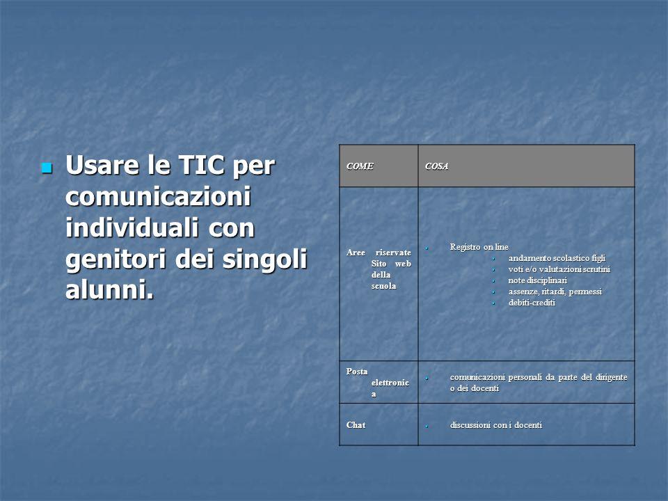Usare le TIC per comunicazioni individuali con genitori dei singoli alunni.