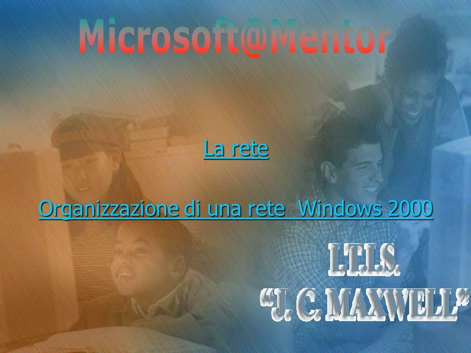 La rete La rete Organizzazione di una rete Windows 2000 Organizzazione di una rete Windows 2000