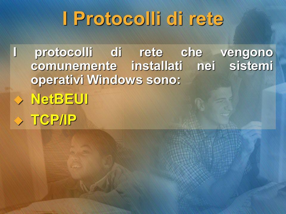 Il Protocollo NetBEUI E un protocollo creato nel 1985 da IBM (ed utilizzato da Windows come protocollo di base fino a non molto tempo) fa per essere utilizzato con l interfaccia NetBIOS.