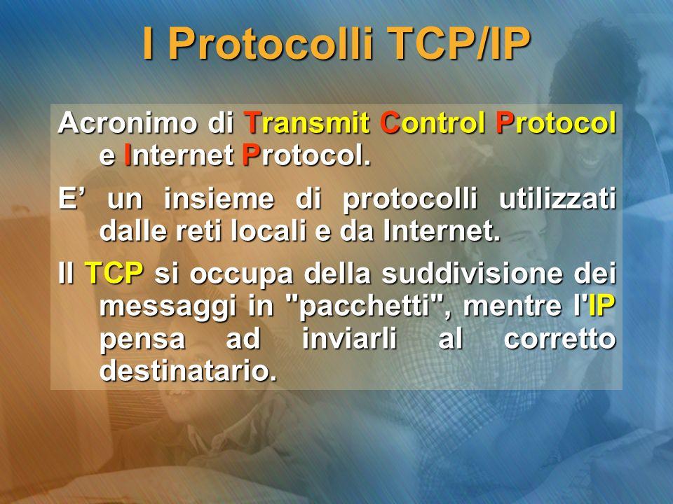 I Protocolli TCP/IP Sono protocolli di basso livello; ciò significa che essi lavorano vicino al livello fisico della rete.