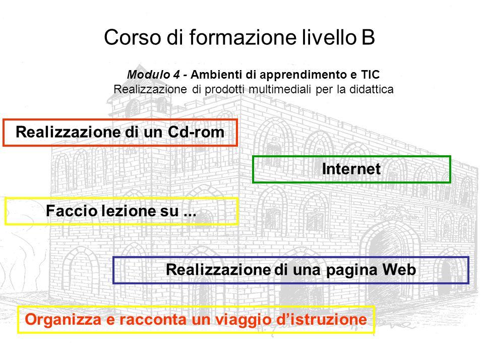 Corso di formazione livello B Realizzazione di un Cd-rom Realizzazione di una pagina Web Internet Faccio lezione su... Organizza e racconta un viaggio