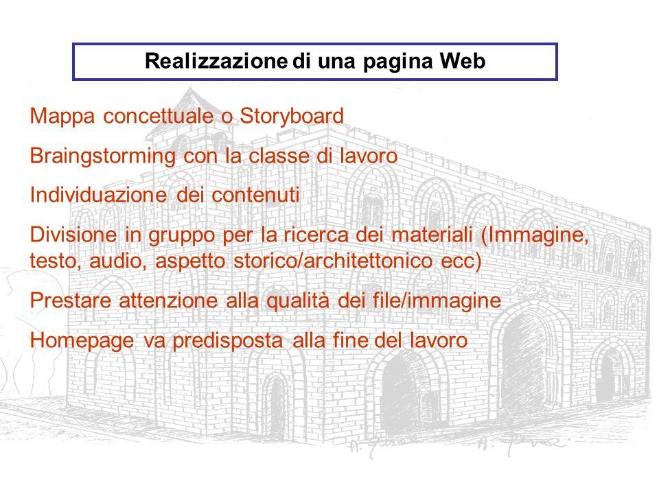 Mappa concettuale o Storyboard Braingstorming con la classe di lavoro Individuazione dei contenuti Divisione in gruppo per la ricerca dei materiali (I
