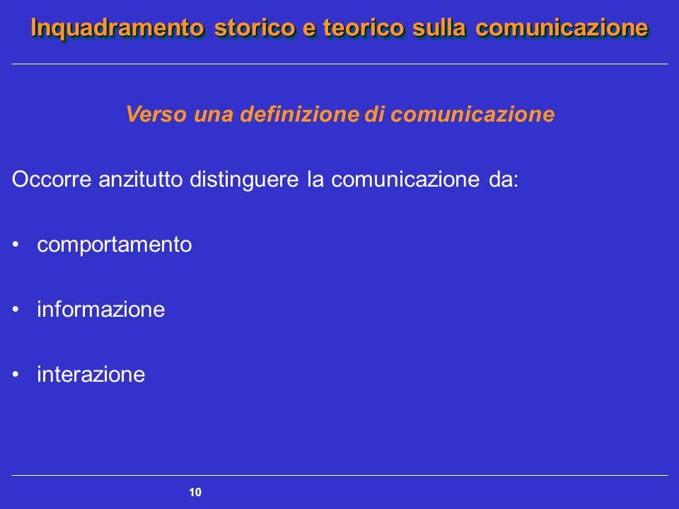 Inquadramento storico e teorico sulla comunicazione 10 Verso una definizione di comunicazione Occorre anzitutto distinguere la comunicazione da: compo