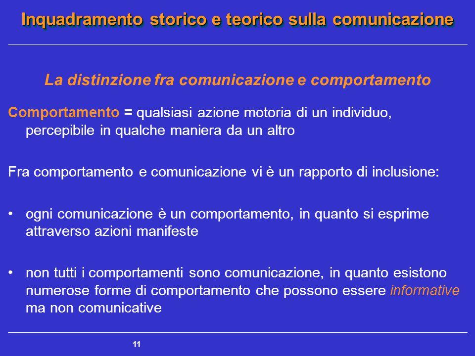 Inquadramento storico e teorico sulla comunicazione 11 La distinzione fra comunicazione e comportamento Comportamento = qualsiasi azione motoria di un