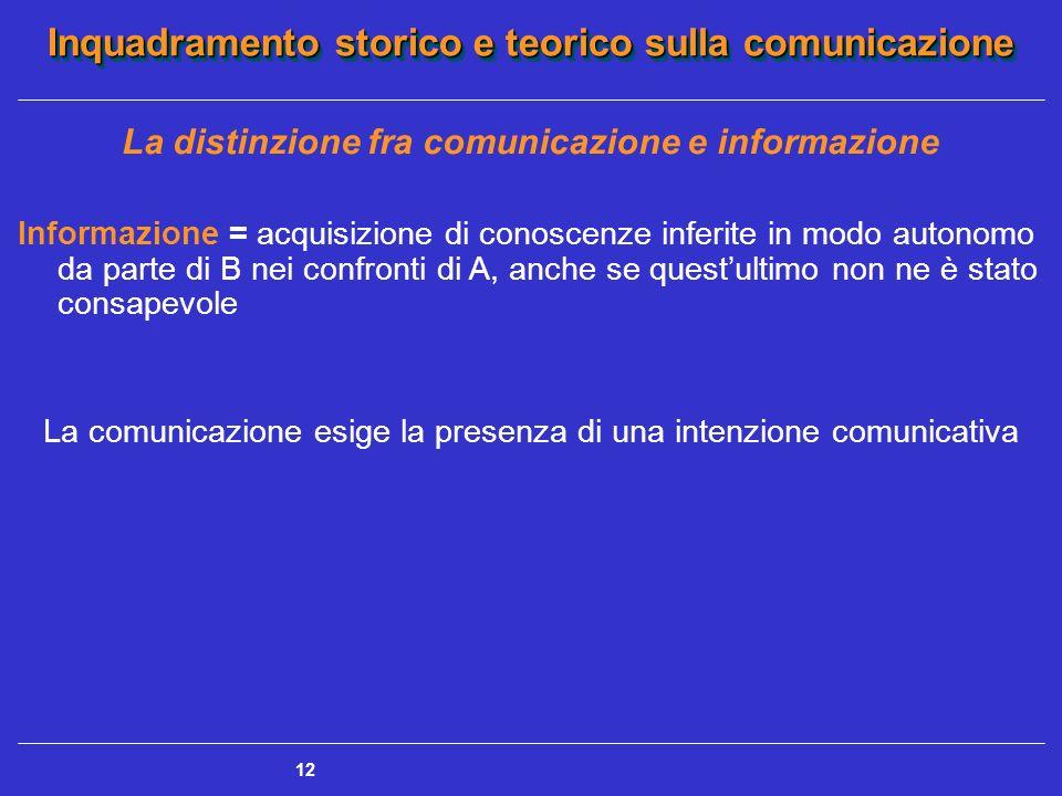 Inquadramento storico e teorico sulla comunicazione 12 La distinzione fra comunicazione e informazione Informazione = acquisizione di conoscenze infer
