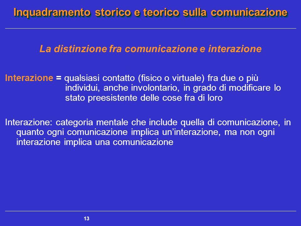 Inquadramento storico e teorico sulla comunicazione 13 La distinzione fra comunicazione e interazione Interazione = qualsiasi contatto (fisico o virtu