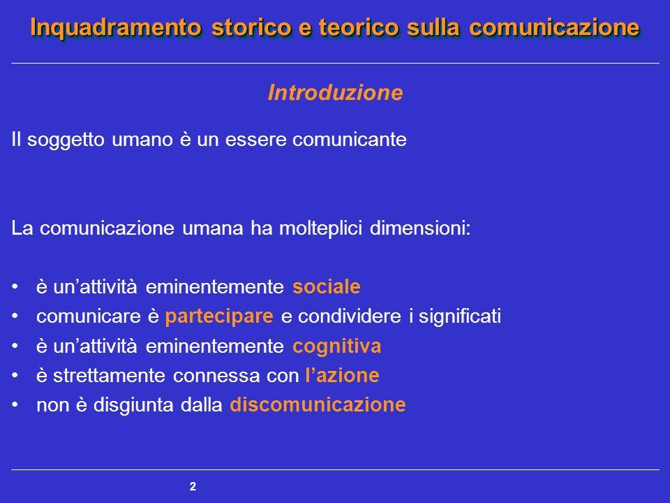 2 Introduzione Il soggetto umano è un essere comunicante La comunicazione umana ha molteplici dimensioni: è unattività eminentemente sociale comunicar
