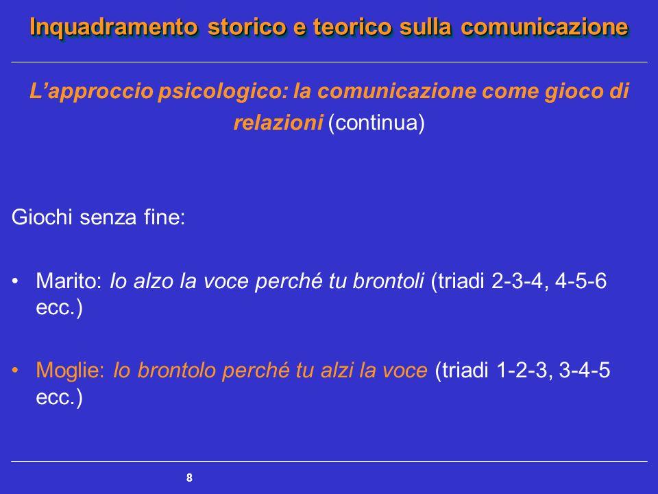 Inquadramento storico e teorico sulla comunicazione 8 Lapproccio psicologico: la comunicazione come gioco di relazioni (continua) Giochi senza fine: M