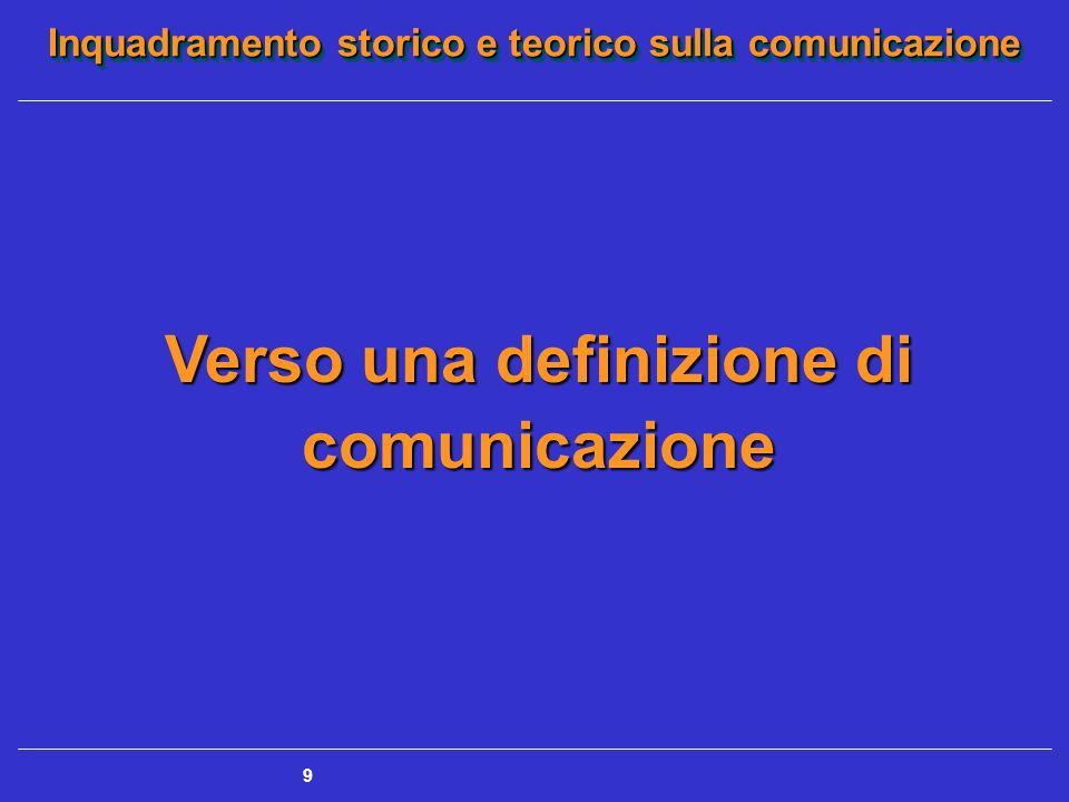 Inquadramento storico e teorico sulla comunicazione 9 Verso una definizione di comunicazione
