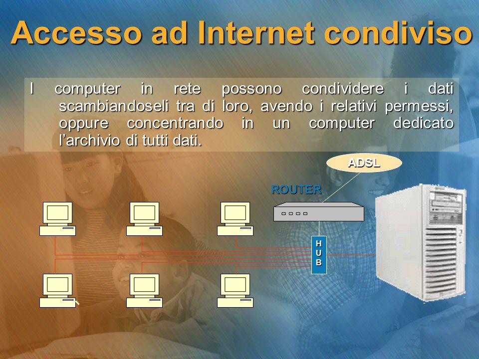 Accesso ad Internet condiviso I computer in rete possono condividere i dati scambiandoseli tra di loro, avendo i relativi permessi, oppure concentrand