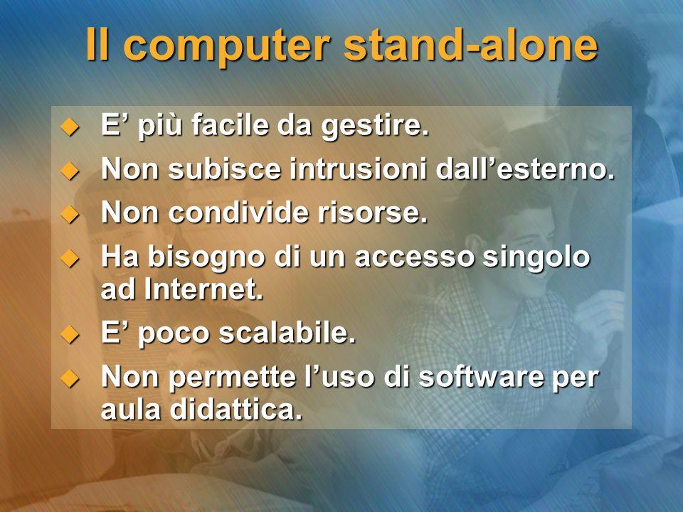 Il computer stand-alone E più facile da gestire. E più facile da gestire. Non subisce intrusioni dallesterno. Non subisce intrusioni dallesterno. Non
