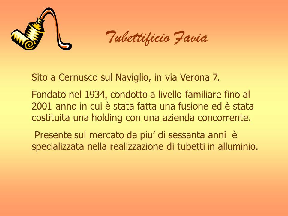 Tubettificio Favia Sito a Cernusco sul Naviglio, in via Verona 7. Fondato nel 1934, condotto a livello familiare fino al 2001 anno in cui è stata fatt
