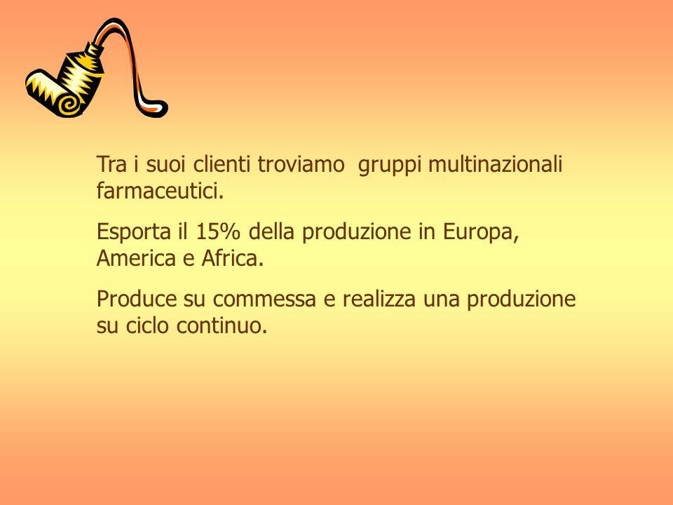 Tra i suoi clienti troviamo gruppi multinazionali farmaceutici. Esporta il 15% della produzione in Europa, America e Africa. Produce su commessa e rea