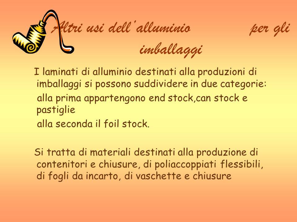 Altri usi dellalluminio per gli imballaggi I laminati di alluminio destinati alla produzioni di imballaggi si possono suddividere in due categorie: al