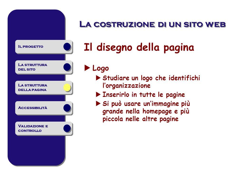 La costruzione di un sito web Il disegno della pagina Logo Studiare un logo che identifichi lorganizzazione Inserirlo in tutte le pagine Si può usare