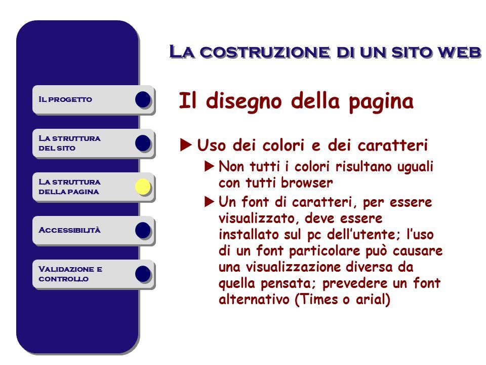 La costruzione di un sito web Il disegno della pagina Uso dei colori e dei caratteri Non tutti i colori risultano uguali con tutti browser Un font di