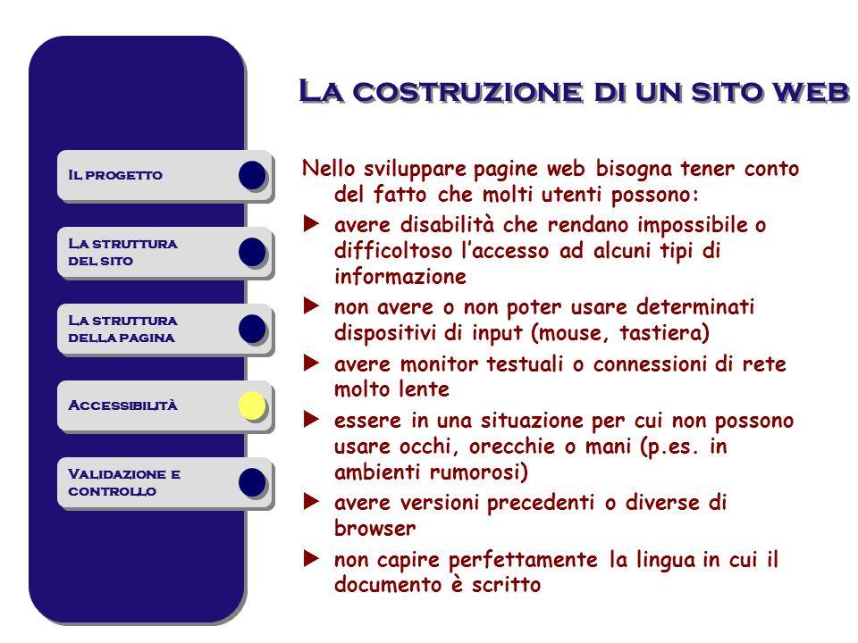 Nello sviluppare pagine web bisogna tener conto del fatto che molti utenti possono: avere disabilità che rendano impossibile o difficoltoso laccesso a