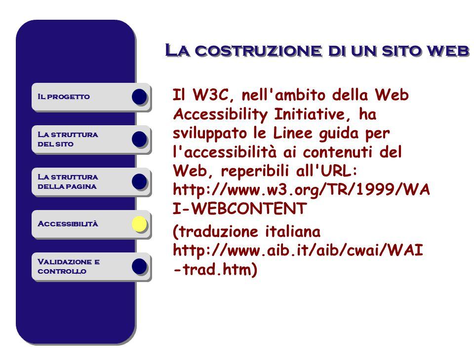 Il W3C, nell ambito della Web Accessibility Initiative, ha sviluppato le Linee guida per l accessibilità ai contenuti del Web, reperibili all URL: http://www.w3.org/TR/1999/WA I-WEBCONTENT (traduzione italiana http://www.aib.it/aib/cwai/WAI -trad.htm) La costruzione di un sito web Il progetto La struttura del sito La struttura del sito La struttura della pagina La struttura della pagina Accessibilità Validazione e controllo Validazione e controllo