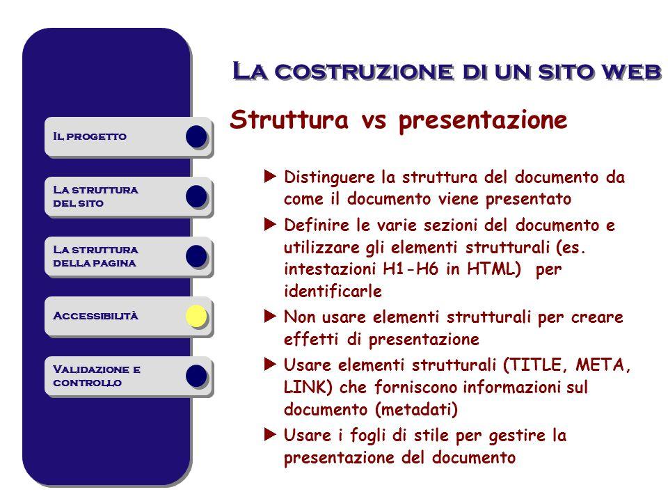 Struttura vs presentazione Distinguere la struttura del documento da come il documento viene presentato Definire le varie sezioni del documento e utilizzare gli elementi strutturali (es.
