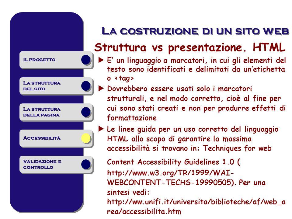 Struttura vs presentazione. HTML E un linguaggio a marcatori, in cui gli elementi del testo sono identificati e delimitati da unetichetta o Dovrebbero