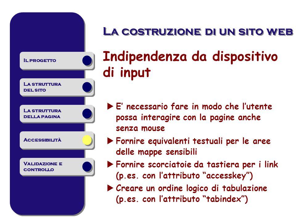 Indipendenza da dispositivo di input E necessario fare in modo che lutente possa interagire con la pagine anche senza mouse Fornire equivalenti testua