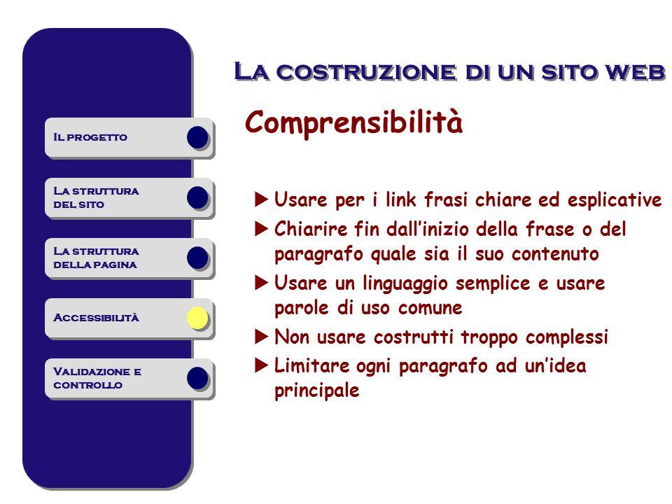 Comprensibilità Usare per i link frasi chiare ed esplicative Chiarire fin dallinizio della frase o del paragrafo quale sia il suo contenuto Usare un l