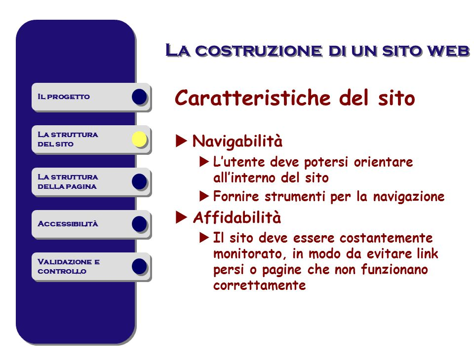 La costruzione di un sito web Caratteristiche del sito Navigabilità Lutente deve potersi orientare allinterno del sito Fornire strumenti per la naviga