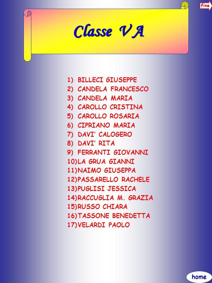 home fine Classe V A 1)BILLECI GIUSEPPE 2)CANDELA FRANCESCO 3)CANDELA MARIA 4)CAROLLO CRISTINA 5)CAROLLO ROSARIA 6)CIPRIANO MARIA 7)DAVI CALOGERO 8)DA