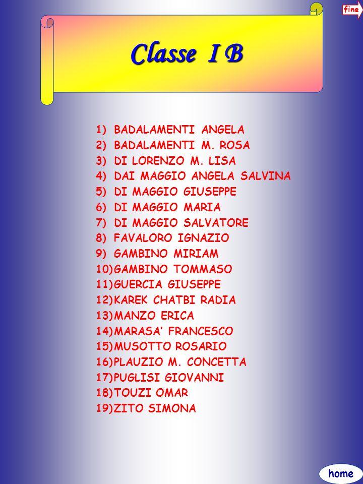 home fine Classe I B 1)BADALAMENTI ANGELA 2)BADALAMENTI M. ROSA 3)DI LORENZO M. LISA 4)DAI MAGGIO ANGELA SALVINA 5)DI MAGGIO GIUSEPPE 6)DI MAGGIO MARI