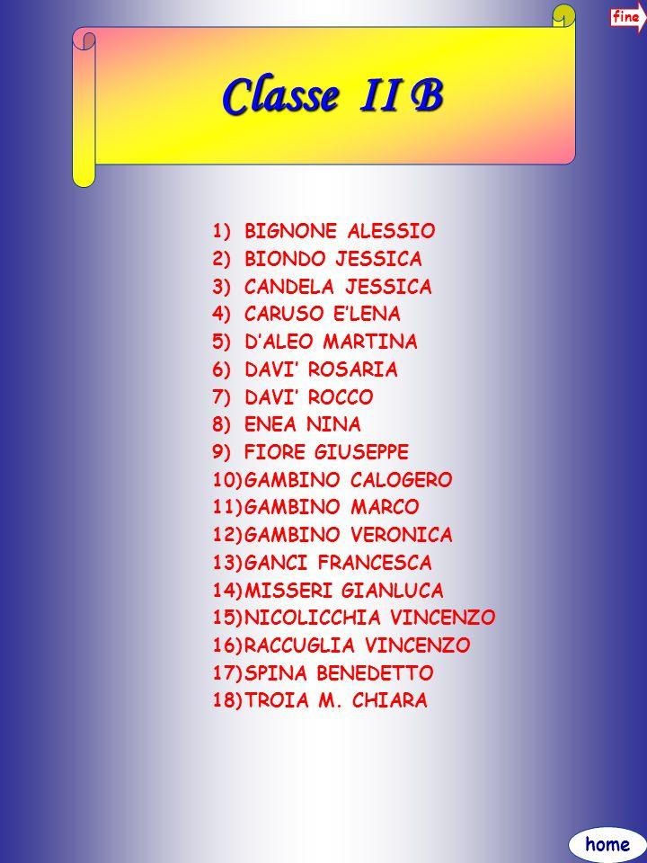 home fine Classe II B 1)BIGNONE ALESSIO 2)BIONDO JESSICA 3)CANDELA JESSICA 4)CARUSO ELENA 5)DALEO MARTINA 6)DAVI ROSARIA 7)DAVI ROCCO 8)ENEA NINA 9)FI