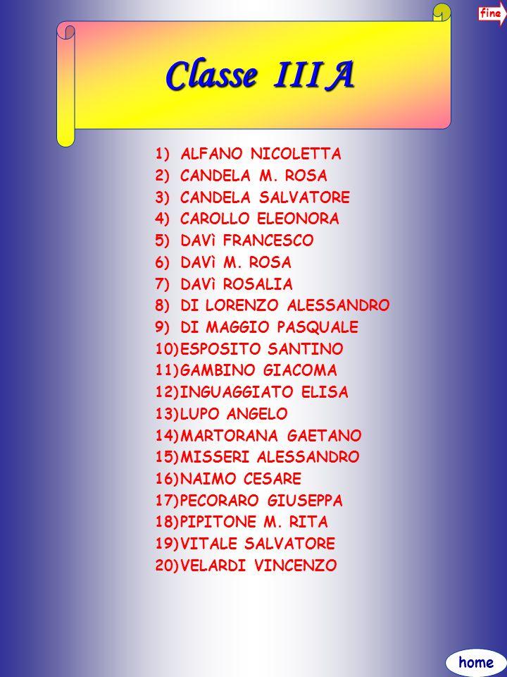 home fine Classe III A 1)ALFANO NICOLETTA 2)CANDELA M. ROSA 3)CANDELA SALVATORE 4)CAROLLO ELEONORA 5)DAVì FRANCESCO 6)DAVì M. ROSA 7)DAVì ROSALIA 8)DI