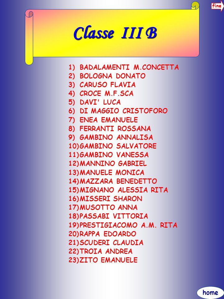 home fine Classe III B 1)BADALAMENTI M.CONCETTA 2)BOLOGNA DONATO 3)CARUSO FLAVIA 4)CROCE M.F.SCA 5)DAVI' LUCA 6)DI MAGGIO CRISTOFORO 7)ENEA EMANUELE 8